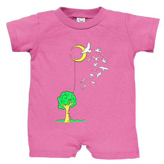 Pink baby romper that has a tree with a ladder going to the moon, with people climbing the ladder to just past the tree, jumping off and turning into birds soaring to the moon