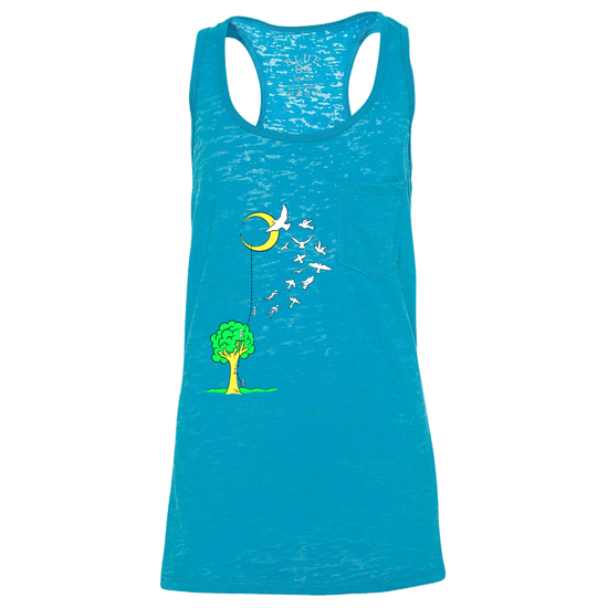 Blue women's racer back tank that has a tree with a ladder going to the moon, with people climbing the ladder to just past the tree, jumping off and turning into birds soaring to the moon