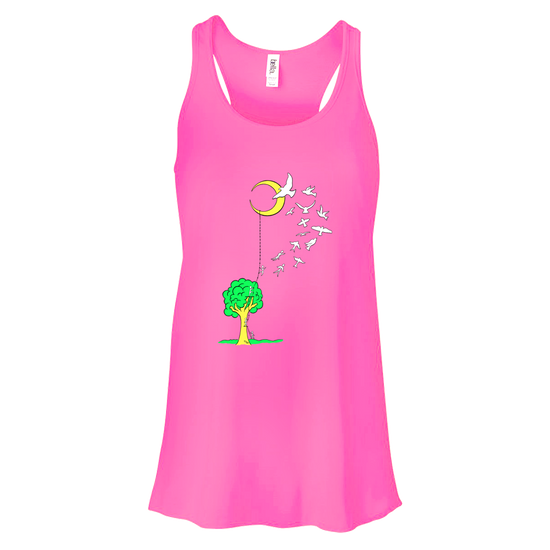 Hot pink women's flowy racer back tank that has a tree with a ladder going to the moon, with people climbing the ladder to just past the tree, jumping off and turning into birds soaring to the moon