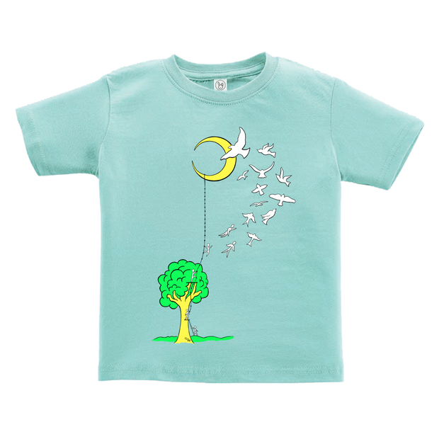 Light blue toddler tshirt that has a tree with a ladder going to the moon, with people climbing the ladder to just past the tree, jumping off and turning into birds soaring to the moon