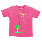 Hot pink toddler tshirt that has a tree with a ladder going to the moon, with people climbing the ladder to just past the tree, jumping off and turning into birds soaring to the moon