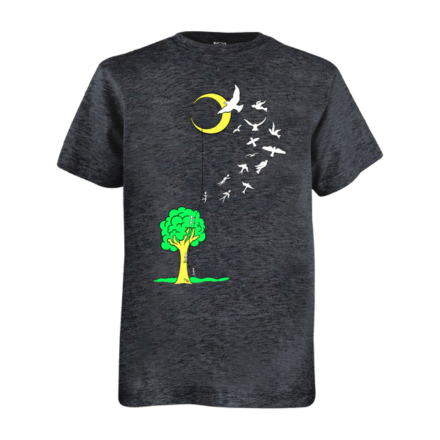Grey youth tshirt that has a tree with a ladder going to the moon, with people climbing the ladder to just past the tree, jumping off and turning into birds soaring to the moon