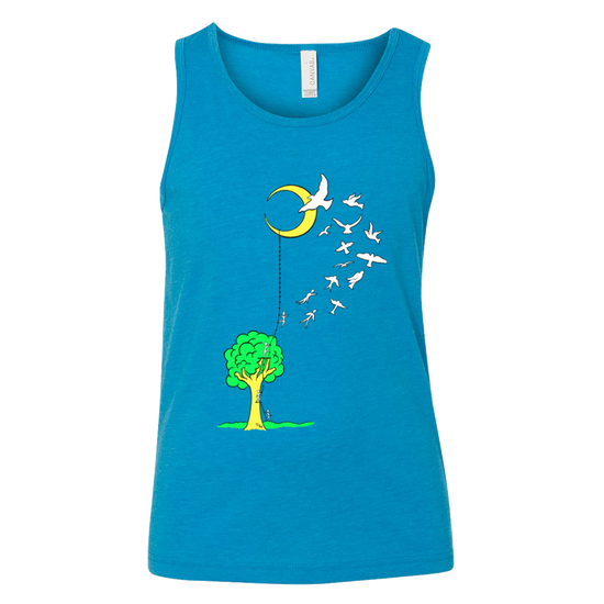 Neon blue youth tank that has a tree with a ladder going to the moon, with people climbing the ladder to just past the tree, jumping off and turning into birds soaring to the moon