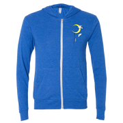 Front view of our Flying Pople royal blue zip up hoodie, with an image of a person climbing a ladder hanging from the moon, and 2 birds soaring on the left breast