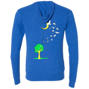 Back view of a royal blue zip up hoodie that has a tree with a ladder going to the moon, with people climbing the ladder to just past the tree, jumping off and turning into birds soaring to the moon