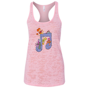 Pink racer back women's tank with two connected eighth notes made of rock, and Fraggles sitting on and hanging from it
