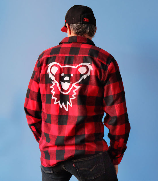 Red & Black Grateful Dead Dancing Bear Face Men's Flannel 30% OFF
