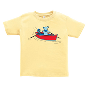 A Grateful Dead bear rowing a dinghy, while a Terrapin turtle fishes off the back, on a yellow toddler tshirt.
