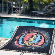 Grateful Dead Spray Paint Stealie Woven Cotton Blanket