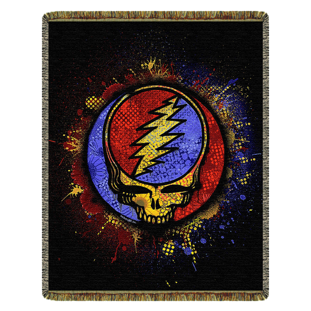 Grateful Dead Spray Paint Stealie Woven Cotton Blanket - Red/Blue