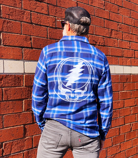 Blue & White Steal Your Face Men's Flannel