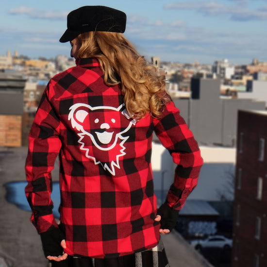 Red & Black Grateful Dead Dancing Bear Face Women's Flannel 30% OFF