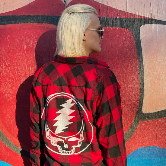 Red & Black Steal Your Face Women's Flannel