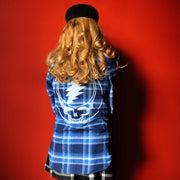Blue & White Steal Your Face Women's Flannel
