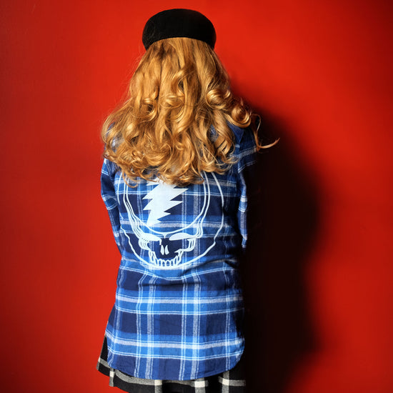 Blue & White Steal Your Face Women's Flannel 30% OFF