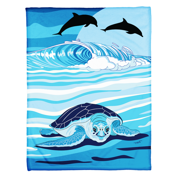 Sea Turtle and Dolphins Coral Fleece Blanket
