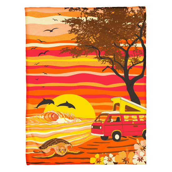 Van Camping on a Hawaii Beach Coral Fleece Blanket