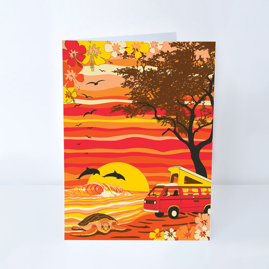 Van Camping on a Hawaii Beach Greeting Card