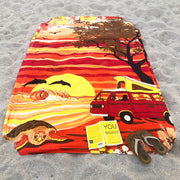 Van Camping on a Hawaii Beach Printed Cotton Tapestry