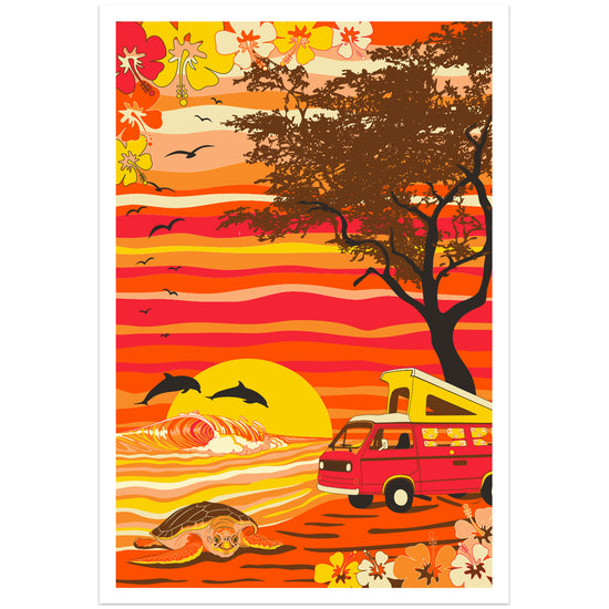 "Van Camping on a Hawaii Beach Poster Print 12"" x 18"""