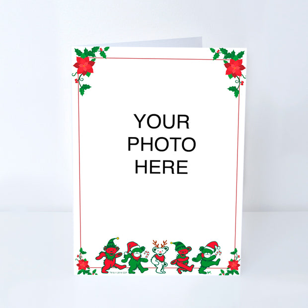 Grateful Dead Jingle Bears & Poinsettia Customized Photo Frame Holiday Card