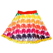 Toddler skirt with a red waistband and an elephant rainbow print
