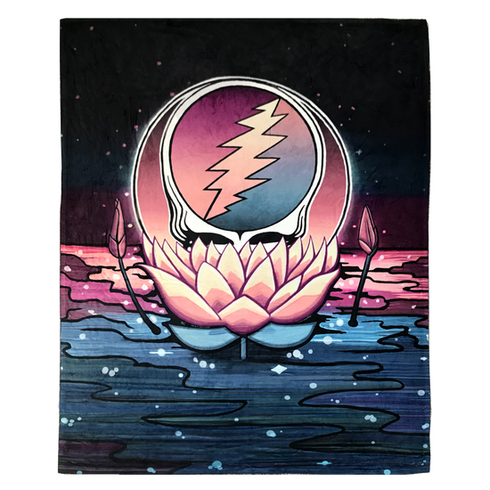 Grateful Dead Stealie nestled in a pink lotus flower, floating on water under a black night sky