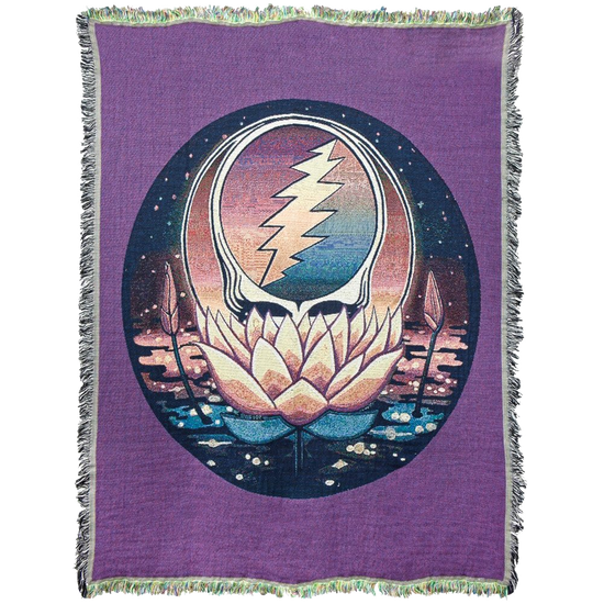 PRE-ORDER Grateful Dead Lotus Stealie Woven Cotton Blanket