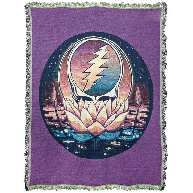 Grateful Dead Lotus Stealie Woven Cotton Blanket