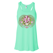 A white and green Stealie with a pink sugar magnolia flower in the center and sugar magnolia branches and flowers flowing down the sides to three central flowers at the bottom, on a mint women's flowy racerback tank.