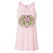 A white and green Stealie with a pink sugar magnolia flower in the center and sugar magnolia branches and flowers flowing down the sides to three central flowers at the bottom, on a light pink women's flowy racerback tank.