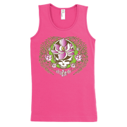 A white and green Stealie with a pink sugar magnolia flower in the center and sugar magnolia branches and flowers flowing down the sides to three central flowers at the bottom, on a pink girl's tank top.
