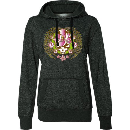 A white and green Stealie with a pink sugar magnolia flower in the center and sugar magnolia branches and flowers flowing down the sides to three central flowers at the bottom, on a black glittery women's hoodie.