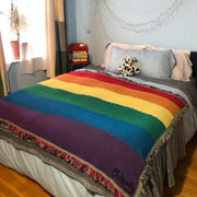 Rainbow Stripes Woven Cotton Blanket