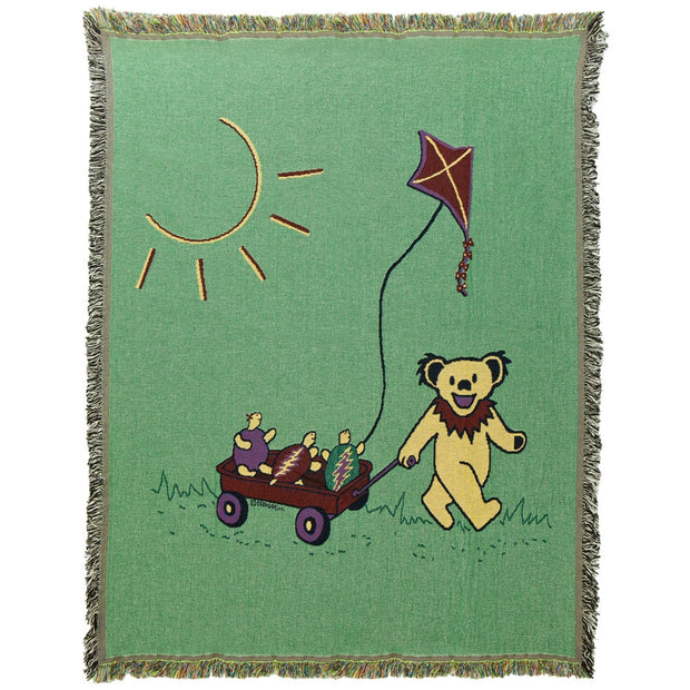 Grateful Dead Terrapin & Bear Red Wagon Woven Cotton Blanket