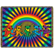 Grateful Dead Rainbow Bears Woven Cotton Blanket