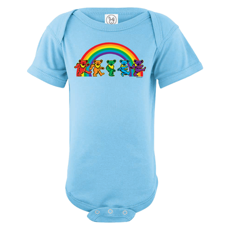 A blue infant one piece, with five Grateful Dead bears dancing in front of a rainbow across the chest.