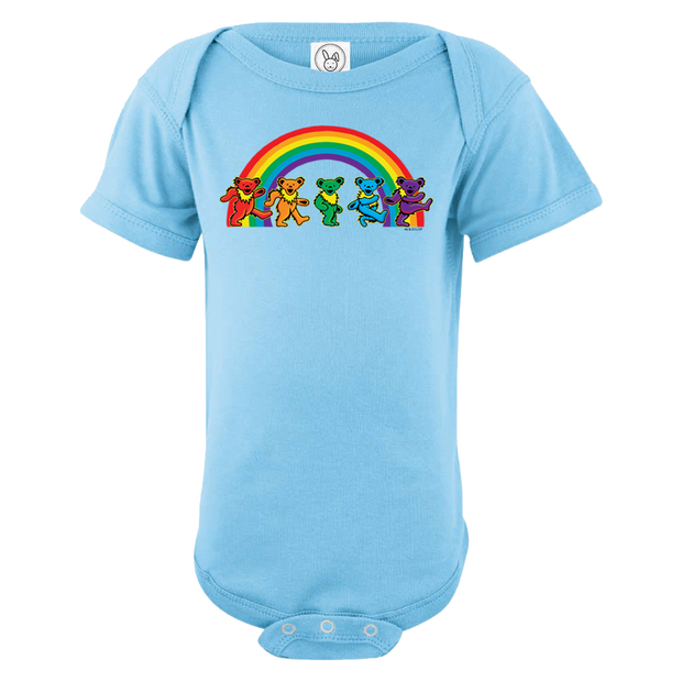 d8c8dc27f A blue infant one piece, with five Grateful Dead bears dancing in front of a.  Grateful Dead Rainbow Bears Short Sleeve ...