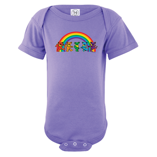 A purple infant one piece, with five Grateful Dead bears dancing in front of a rainbow across the chest.