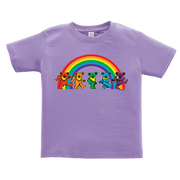 A purple toddler tshirt, with five Grateful Dead bears dancing in front of a rainbow across the chest.