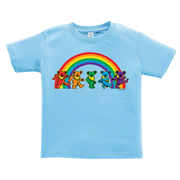 A blue toddler tshirt, with five Grateful Dead bears dancing in front of a rainbow across the chest.