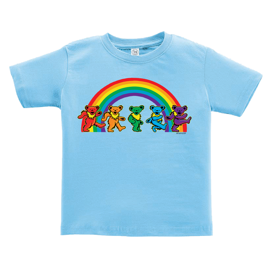 1481063de501 A blue toddler tshirt, with five Grateful Dead bears dancing in front of a  rainbow
