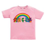 A pink toddler tshirt, with five Grateful Dead bears dancing in front of a rainbow across the chest.