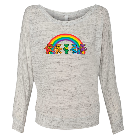 Grateful Dead Rainbow Bears Women's Long Sleeve Flowy Off-Shoulder T
