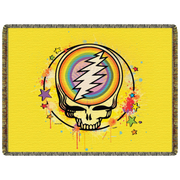 Grateful Dead Yellow Rainbow Splatter Stealie Woven Cotton Blanket