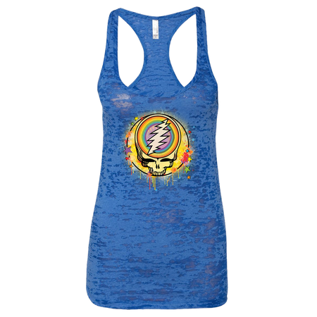 Grateful Dead Rainbow Splatter Stealie Women's Burnout Racerback Tank
