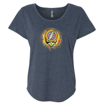Grateful Dead Rainbow Splatter Stealie Women's Triblend Dolman T
