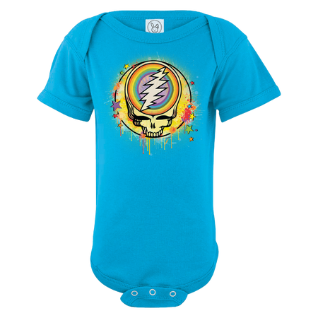 A blue infant one piece with a Grateful Dead Steal Your Face Skull, with a full circle rainbow in the center of the skull, spray paint splatters filling in the circle around it, and dripping around the edges, and stars scattered around the edges of the circle.