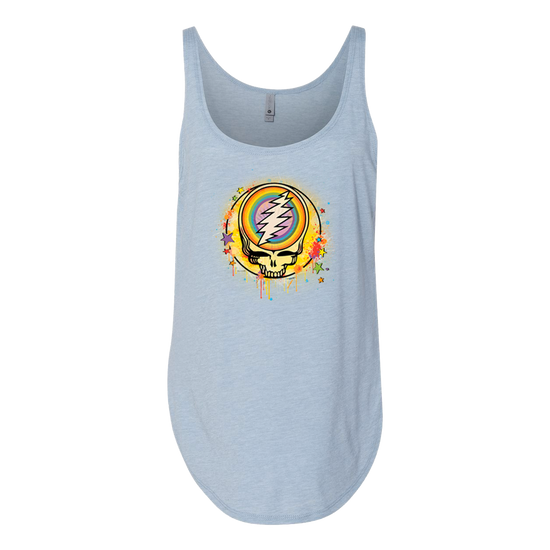 Grateful Dead Rainbow Splatter Stealie Women's Festival Tank