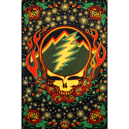 Grateful Dead Scarlet Fire Stealie Printed Cotton 3D Tapestry